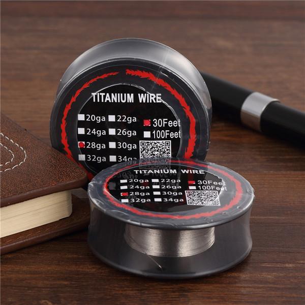 100pcs Titanium Wire Resistance 30 Feet TA1 Ti AWG 26g 28g 30g Gauge Coil Roll For Temp Control TC Vape Mod Electronic DHL