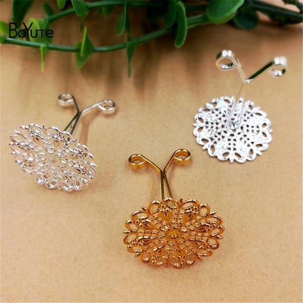 BoYuTe 10 Pieces 3 Colors Metal Brass Filigree Flower Hair Clip Setting Diy Hand Made Jewelry Accessories