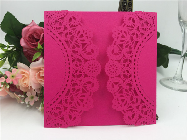 2019 Free shipping European Classic Paper, Laser Cut Pink Wedding Invitations Customizable/blank Invitation With Envelope