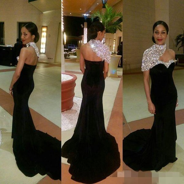 2K16 Black Sparkly Crystals Mermaid Prom Dresses One Short Sleeve High Neck Fitted Bodice Sweep Train 2016 Hot Formal Evening Occasion Gowns