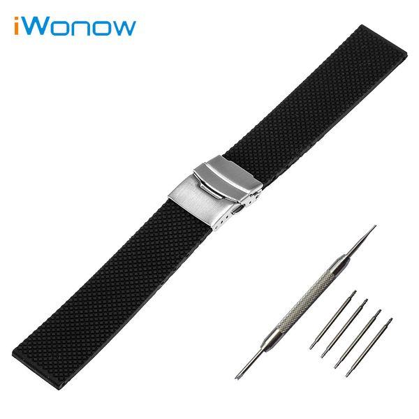 Wholesale- Silicone Rubber Mesh Pattern Watch Band 22mm for Samsung Gear 2 R380 / R381 / R382 Safety Buckle Strap Wrist Belt Bracelet Black