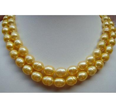Beautiful AAA 10-13mm South Sea Gold Baroque Pearl Necklace 35 inch 14K GOLD CLASP