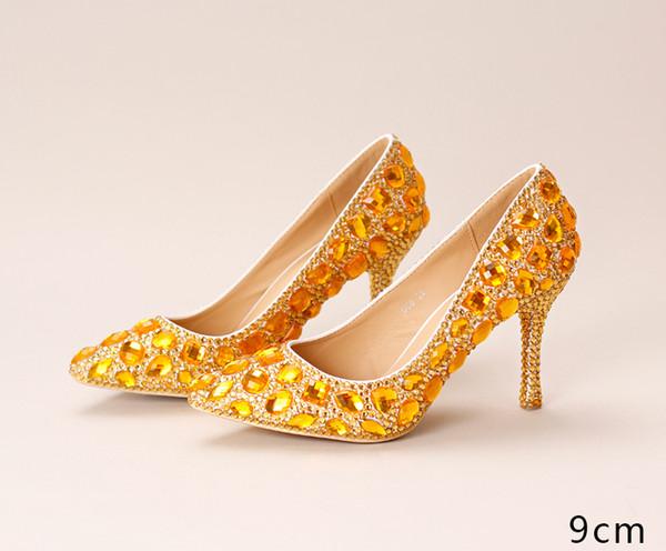 Gold Rhinestone High Heeled Wedding Shoes Exquisite Bride Wedding