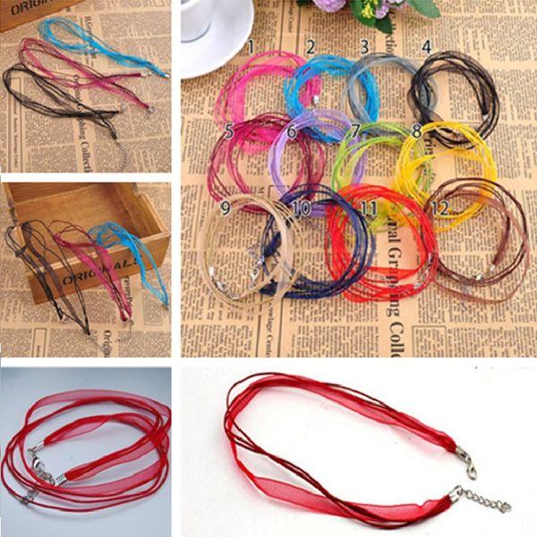 High quality Fashion 1000pcs/lot 12Colors Organza Voile Ribbon Necklaces Pendants Chains Jewelry DIY Cord CC551