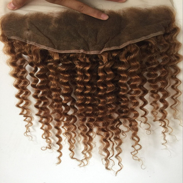 8a free shipping Brazilian Hair Lace Frontal 13x4 honey blond deep wave