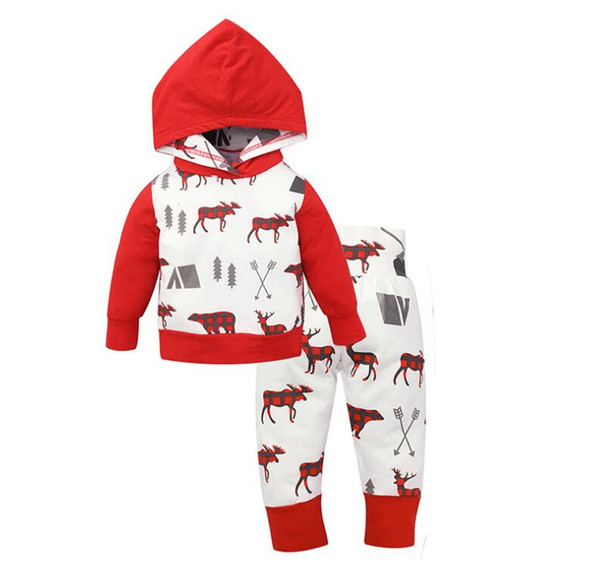 top popular Christmas Kids Hoodies Set Baby Boy Girl Coat Suits Sweatshirts Christmas Outfits Set Children Long Sleeve Clothes Sets Christmas Gifts 2021