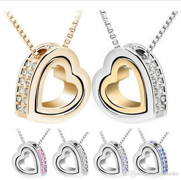 Crystal Necklace Double Heart Alloy Shining pendant For Couples Valentine's day Christmas gift Free TNT Fedex DHL