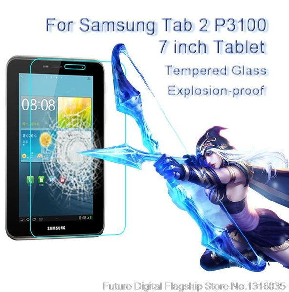 Wholesale-Best  Tempered Glass for Samsung Galaxy Tab 2 P3100 7 inches 9H Hard Transparent Screen Protector Film
