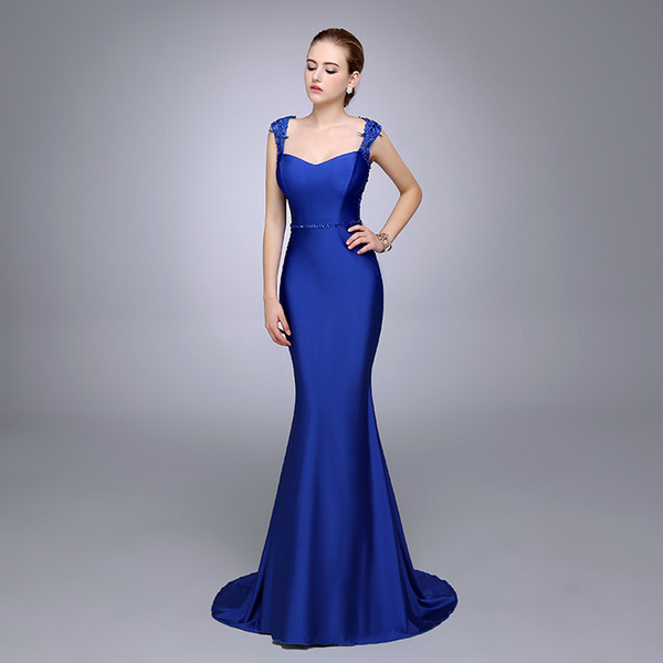 Real Photo Royal Blue Lace Applique Mermaid Evening Dress 2016 Crew Beaded Pivot Backless Prom Party Guest Evening Gown