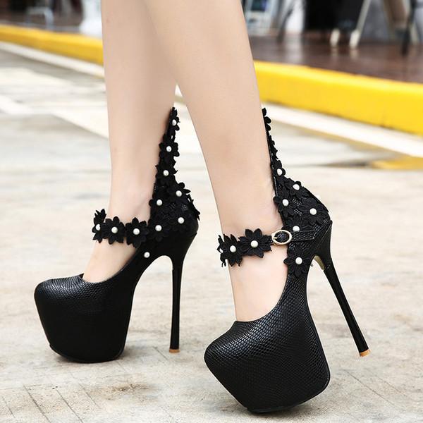 16CM Trendy black lace pearl flower platform pumps sexy women super high heels size 34 to 40