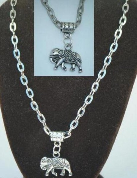 Vintage Silver Indian Elephant Charms Choker Collar Necklaces&Pendants For Women Gift DIY Jewelry Fashion Accessories Souvenir Hot Sale Q76