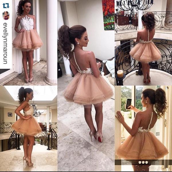 2017 glamouröse A Line Chiffon Mini Brautjungfernkleider Sheer Jewel Sexy Back Tiers Ärmellos Ärmellos Prom Party Kleider
