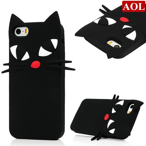 3D Cartoon Japan Sailor Moons cute bow luna black cat soft silicone case For iphone5 5s se 6 6s plus w/Screen Protector+Pen