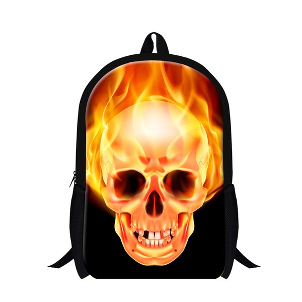 Mens Fire Skull 3d Printing Backpacks High School College Double ...