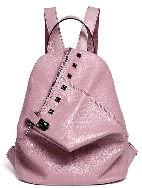 Fa hion genuine leather backpack rivet women bag preppy tyle backpack girl chool bag zipper large women 039 backpack