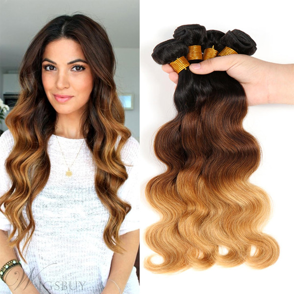 ESSVIGANT Human Hair Bundles Brazilian Ombre Body Weave #1B/4/27 Best Selling Virgin Ombre Human Hair 3 Tone Ombre Hair Extensions