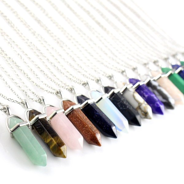 Natural Stone Bullet Shape Pendant Necklaces Stainless Steel / Leather Chains Hexagonal Prism Crystal Jewelry for women and men