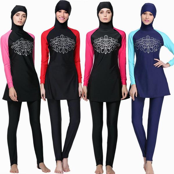 54dd0b8a51 Muslim Swimwear women Islamic Swimsuits For Muslima Covered Swimsuits Long  Sleeve Beach Wear Plus Size burkini