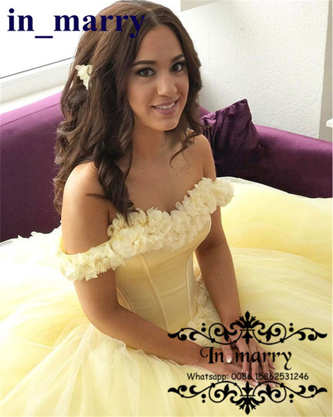 2017 Yellow Ball Gown Quinceanera Dresses With Hand Made