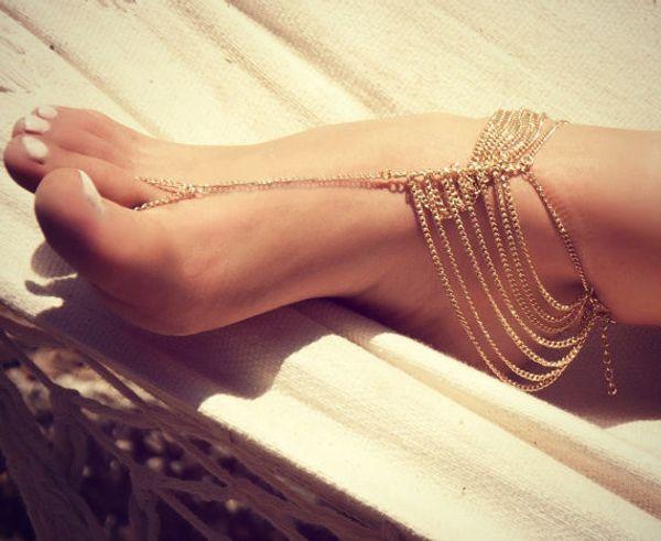 Womens Sommer Strand Gold Silber überzogene mehrlagige Quasten Handschuhe Fußkette Ketten Armband barfuss Sandalen Fußschmuck
