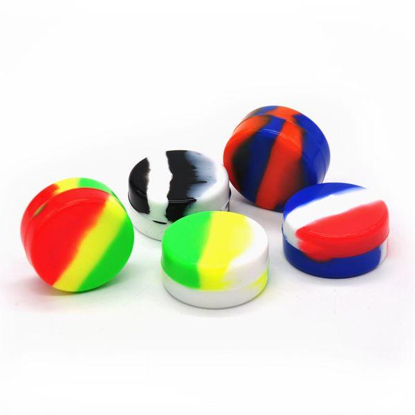 Antiadherente Alimentador de silicona Tarro 7ML colorido Aceite de cera dab Contenedores Irrompible FDA Concentrado de silicona Caja Uso múltiple al por mayor
