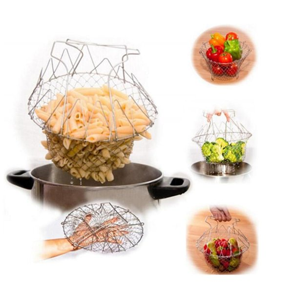 Multifunction Magic Stainless Steel Strainers Baskets,Foldable Mini Fry Steam Rinse Mesh Net Basket Kitchen Cooking Tools