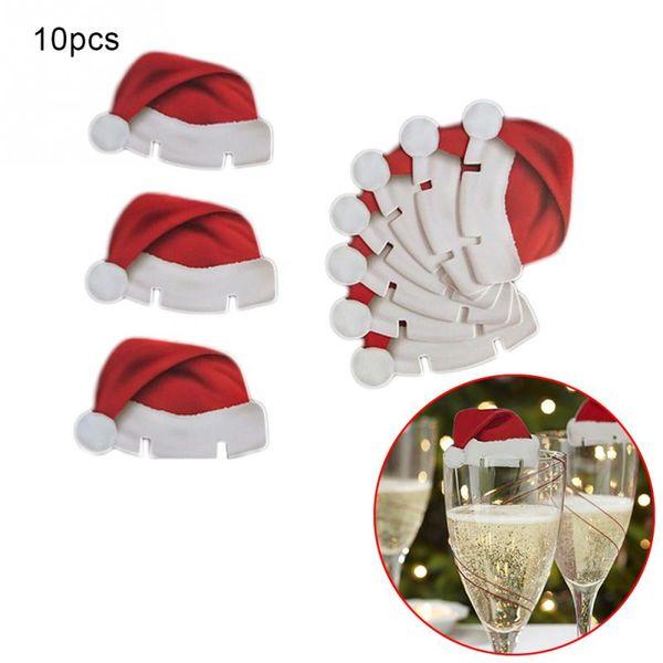 9de74223703 glass santa Coupons - Wholesale- 10pcs Lot Red Card Christmas Hat  Accessories Fun Glass Decorations
