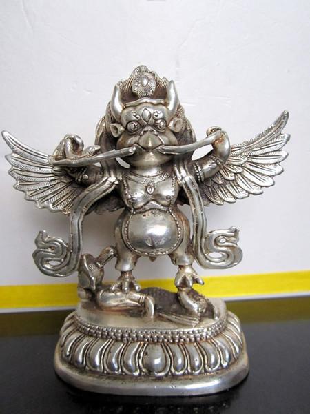 Tibetische Nepal Buddhist Silber Bronze GARUDA Statue Bouddha Statue