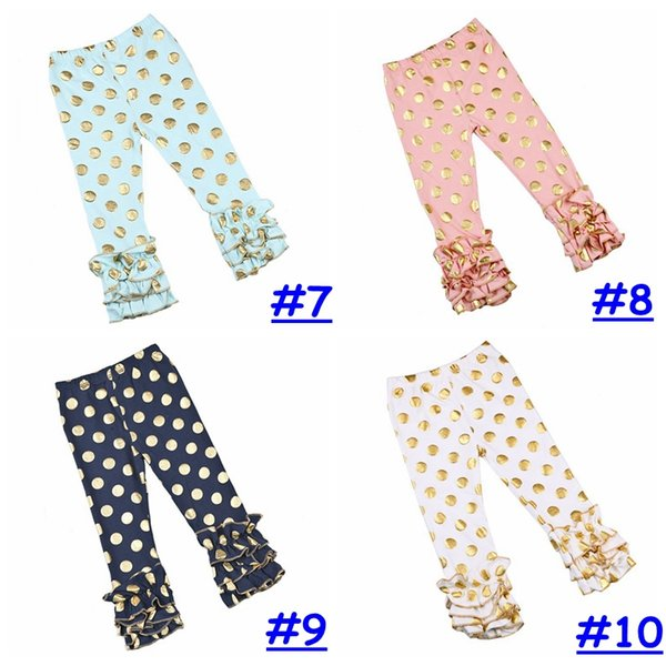 10colors Baby ruffled leggings Kids Girl cotton gold polka dot pants Soft Solid printing gold Trousers all seasons