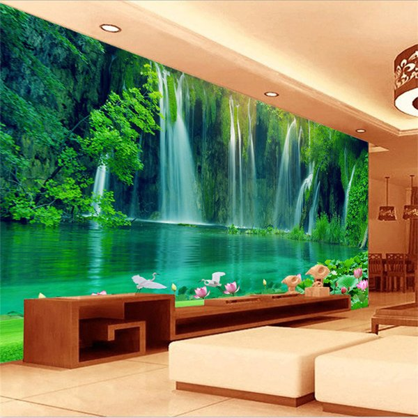 top popular Seamless large-scale mural 3d stereo landscape TV living room background decorative wallpaper wallpaper waterfall lotus flower 2019