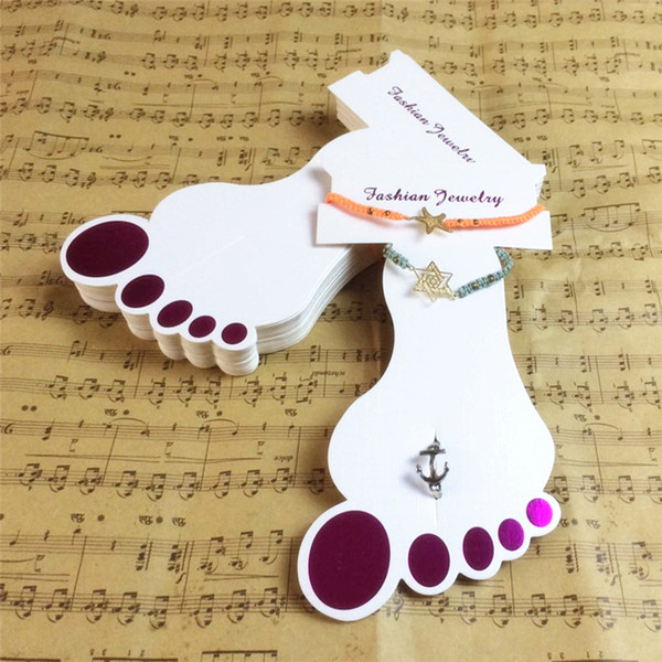best selling 200PCS new arrival fashion foot shape anklet cards high quality 2in1 jewelry Showing stand ivory board display paper anklet holder T4001