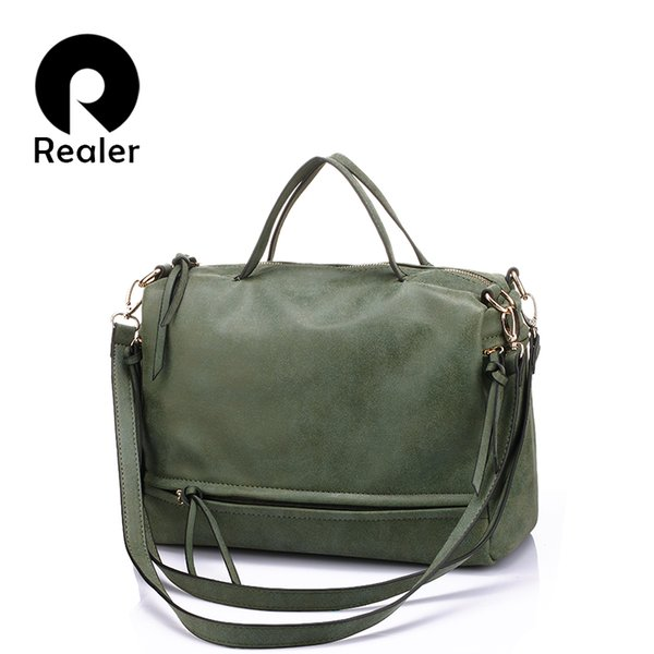 1e77a0afad7b Wholesale REALER Brand Women Handbag With Two Straps High Quality PU  Leather Tote Bag Retro Shoulder Messenger Bags Green Gray Blue Red Cheap  Designer ...