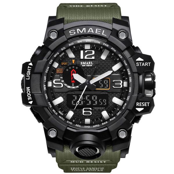 2017 NUEVA Pantalla Dual Digital Ronda Dial Reloj Resistente al Agua Grande Schoole Hombres Deportes Smael Reloj Envío de La Gota