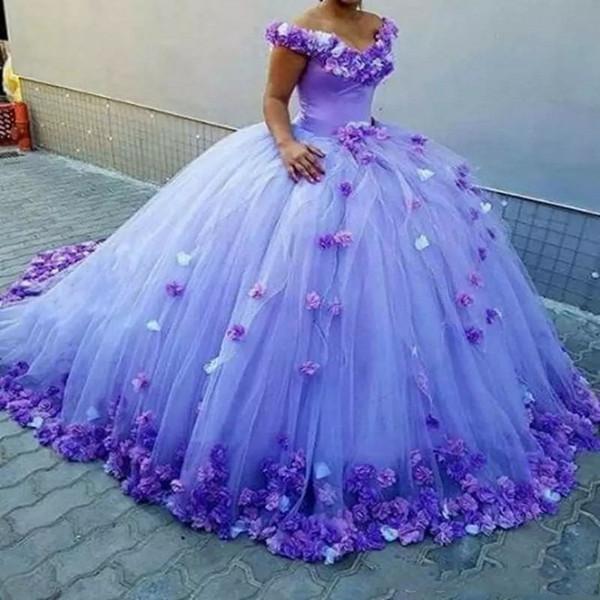 Purple robe de bal Quinceanera robes avec des fleurs à la main au large de l'épaule robe de mariée longue train à lacets dos formelle robes de bal robe de bal