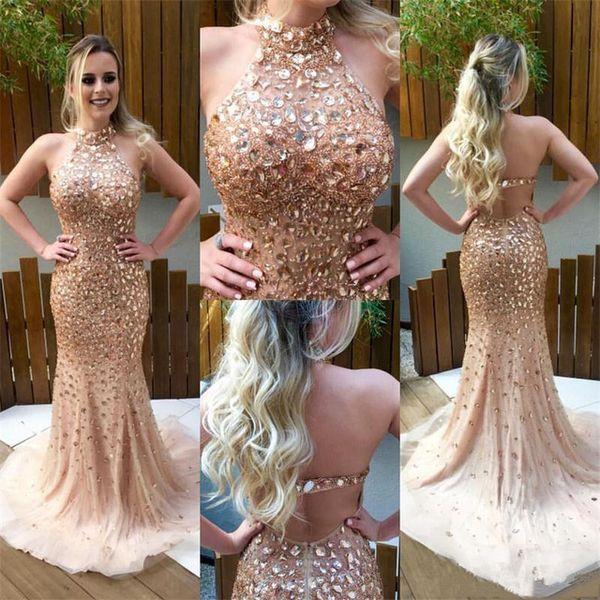 Envío rápido Champagne sirena vestidos de noche 2017 Sparkly Crystal Vestidos de baile Vestido de graduación Vestido formal largo sin espalda