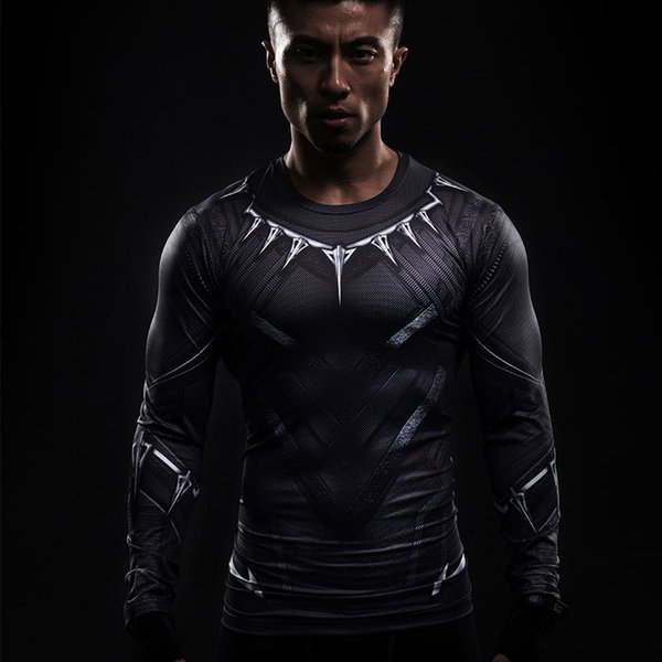 Black Panther 3D Printed T-shirts Captain America Civil War Tee Long Sleeve Cosplay Halloween Costumes Compression Tops Male For