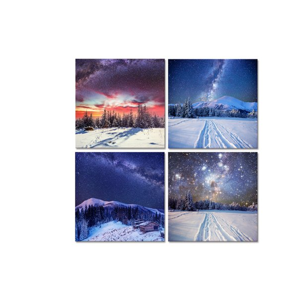 Modern Canvas Artwork The Milky Way Picture Canvas Prints Snow Scenery Canvas Wall Art for Home and Office Decor 4 Panel