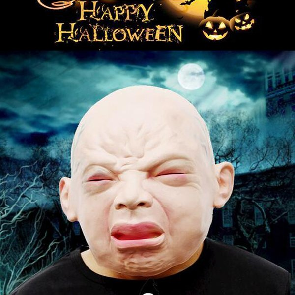 Halloween Scary Crying Baby Masks Latex Silicon Weeping Realistic Old Kids Horror Full Face Mask Halloween Decoration Party Mask