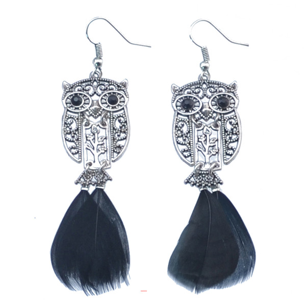 Antique Silver Plated Bohemian Vintage Style Hook Pendant Flower Owl Black Feather Dangle Earrings Women Jewelry