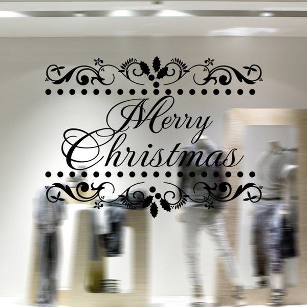 2017 Cute Merry Christmas Greetings Personality Wall Sticker Mural Window Sticker Decoration Creative Decor Waterproof Removable