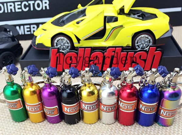 wholesale Foreign trade hot car modified NOS nitrogen bottle key chain creative bottle key chain promotional gifts free shipping