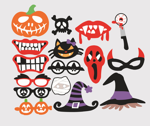 2017 DIY 16pcs/set Mask Photo Booth Props With Paper Creative Halloween Birthday party props DH12