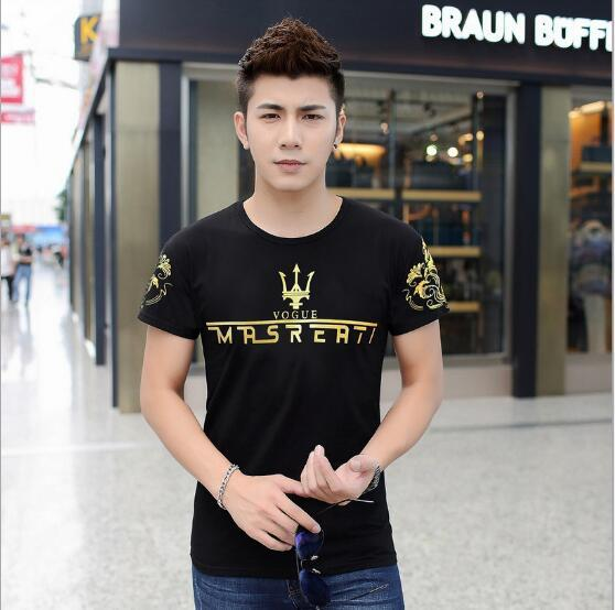 2017 Summer men sorts of collocations tide trendy men T shirt white black blue color with gold letters China factory free shipping