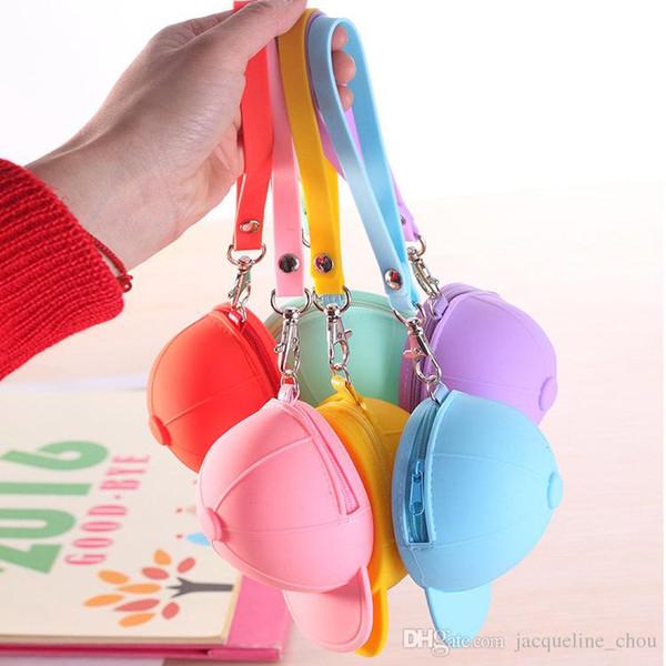 Cute cartoon candy color baseball cap coin bag mini hat key coin purse silicone gel women hand bag gift free shipping 0368
