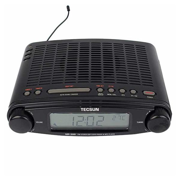 Al por mayor-Original TECSUN MP-300 FM Radio estéreo DSP Radio USB Reproductor de MP3 Reloj de Escritorio ATS Alarma Receptor de Radio Portátil LED DIsplay