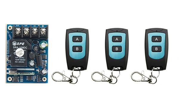 Wholesale- New DC12V 24V 36V 48V 10A 1CH Radio Controller RF Wireless Relay Remote Control Switch 315 MHZ 433 MHZ 3 Transmitter+1 Receiver