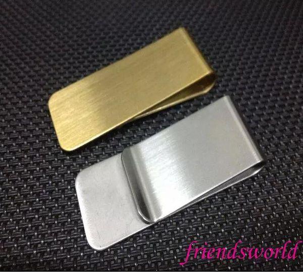 Silver Golden 2 Colors Men Stainless Steel Slim Money Clip Purse Card Clip Clamp Holder para Pocket Holder Cartão de Crédito