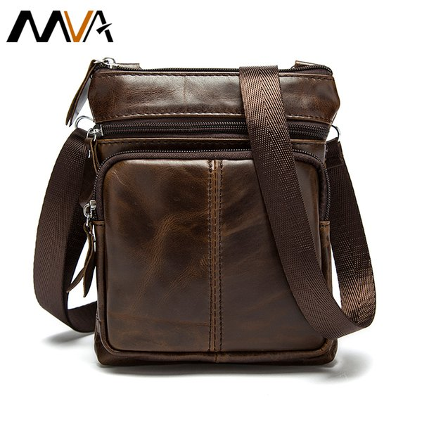 Wholesale- Men's Leather Bag Men Messeneger Bags Genuine Leather Men Bag Brand Small Coin Purse Shoulder Crossbody Bag Causal Handbag MVA