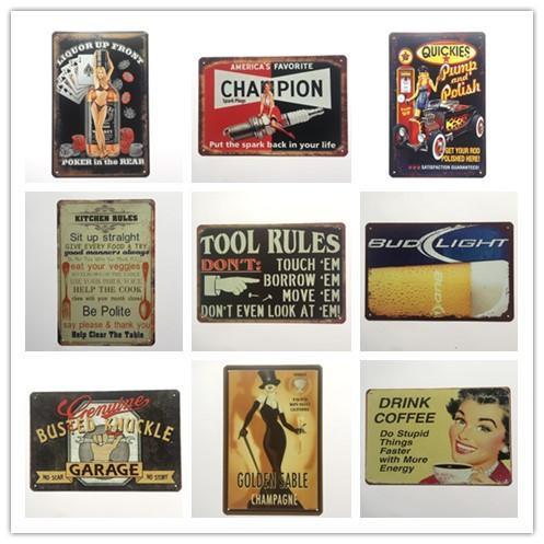 Grosshandel Golden Sable Poker Im Hinteren Champion Kitchen Tool Rules Garagenkaffee Vintage Zeichen Dekoratives Retro Blech Blechschild Von Luckyaboy
