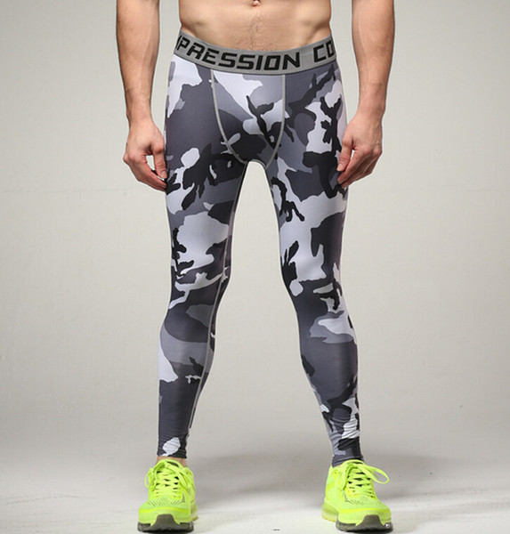 Wholesale- Compression Pants Army Camouflage Jogers Leggings Tights Fitness Fashion Casual Mens Pants Trousers Brand Clothing